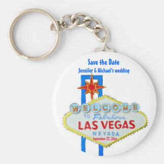 Las Vegas Save the Date Customized Occasion Basic Round Button Keychain