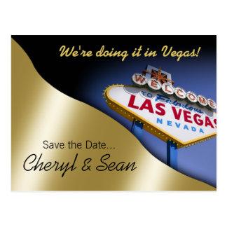 Las Vegas Save The Date metallic light gold Post Cards