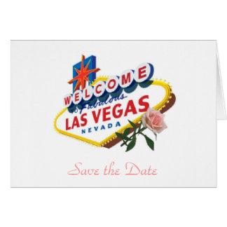Las Vegas Save the Date Pink Rose Card
