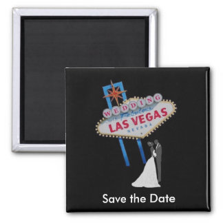 "Las Vegas ""Save the Date"" Wedding Magnet with Brid"