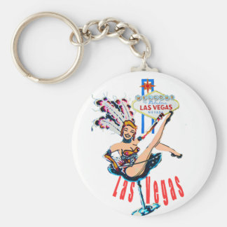 Las Vegas Sign and Casino Showgirl Keychain
