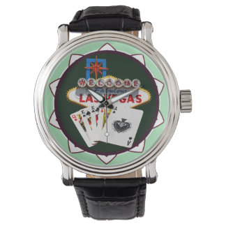Las Vegas Sign And Two Kings Poker Chip Watches