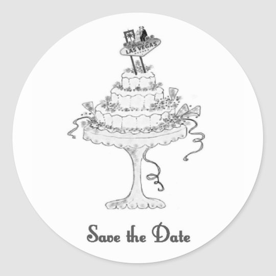 Las Vegas Sign/B&G on Cake Save the Date Sticker