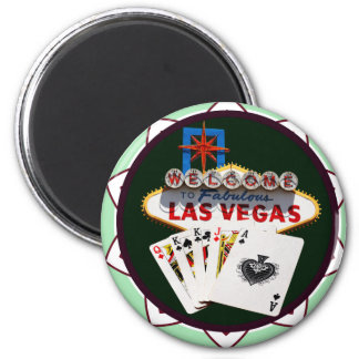 Las Vegas Sign & Cards Poker Chip Magnet