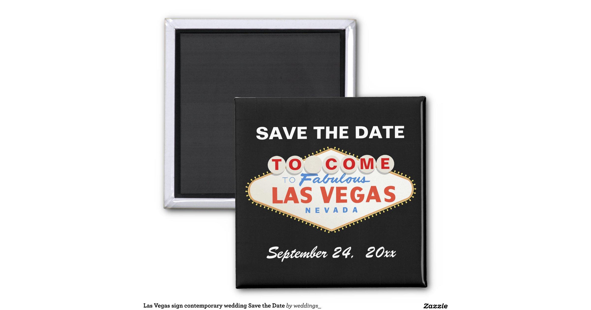 Las Vegas Sign Destination Wedding Save The Date Square Magnet Zazzle