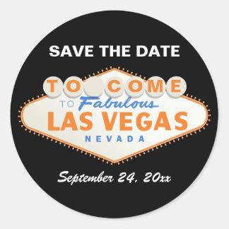 Las Vegas sign orange wedding Save the Date Classic Round Sticker