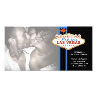 Las Vegas Sign Photo Wedding Marriage Announcement Photo Card Template