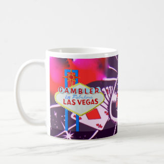 Las Vegas Sign with Casino Dice and Roulette Coffee Mug
