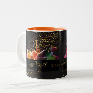 Las Vegas Skyline in Psychedelic Colors Two-Tone Coffee Mug