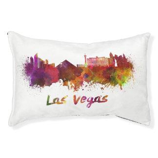 Las Vegas skyline in watercolor Pet Bed