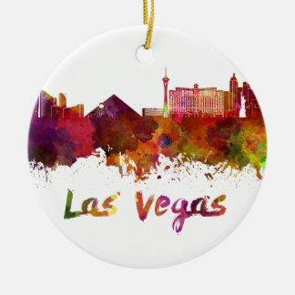 Las Vegas skyline in watercolor Round Ceramic Ornament