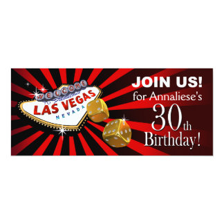 Las Vegas Starburst 30th Birthday red black gold Card