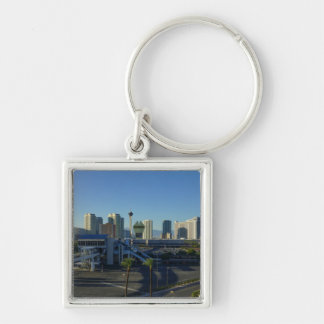 Las Vegas Strip Ahead Silver-Colored Square Keychain