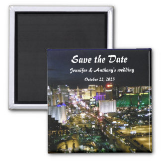 Las Vegas Strip Photo Wedding Date Plans Magnet