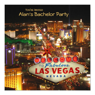 "Las Vegas Style Bachelor Party Invitation #2 5.25"" Square Invitation Card"