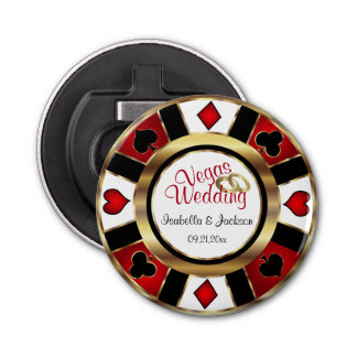 Las Vegas Styled Wedding - Gold, White & Red Button Bottle Opener