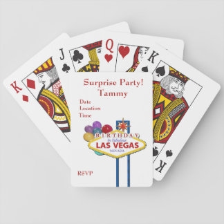 Las Vegas Surprise Birthday Party Playing Cards