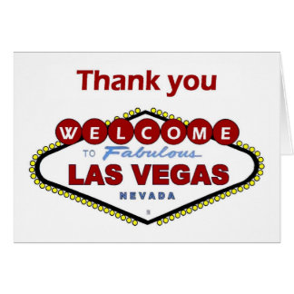 Las Vegas Thank you Card. NEW Deep Red Color! Card