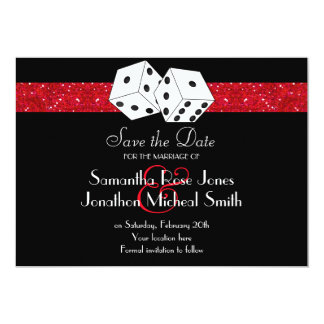 "Las Vegas Theme Save the Date Red Faux Glitter 5"" X 7"" Invitation Card"