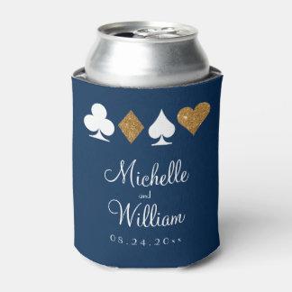 Las Vegas Themed Wedding Can Cooler Gold Navy Blue
