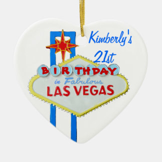 Las Vegas Twenty First Birthdy Ceramic Ornament
