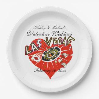 Las Vegas Valentine Wedding Paper Plate