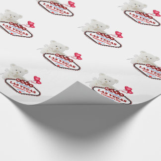 Las Vegas Valentine's Day Bear Wrapping Paper