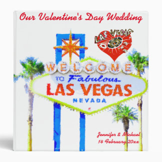 Las Vegas Valentine's Day Wedding Album 3 Ring Binder