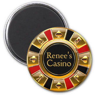 Las Vegas VIP Black Gold Red Casino Chip Favour 2 Inch Round Magnet
