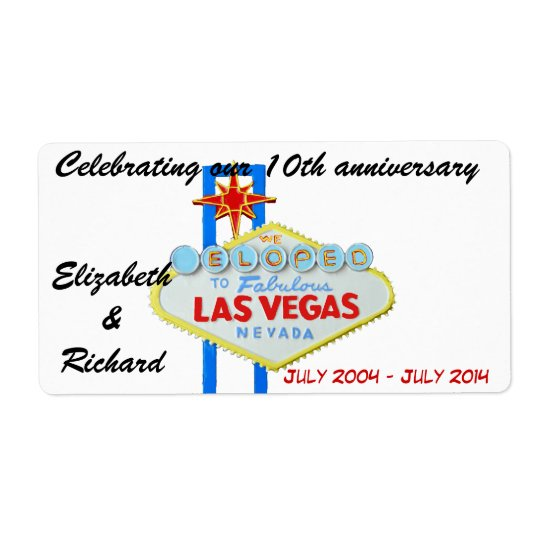 Las Vegas Wedding Anniversary Wine Labels