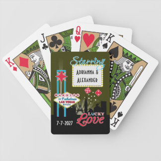 Las Vegas Wedding Announcements City Neon Bicycle Playing Cards