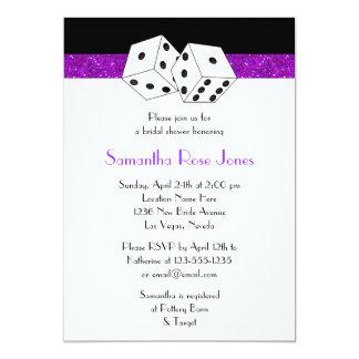 "Las Vegas Wedding Bridal Shower Purple Dice Theme 5"" X 7"" Invitation Card"