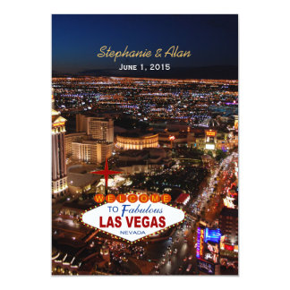 Las Vegas Wedding Invitation Blue