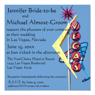 Las Vegas Wedding Invite Vintage Neon Sign