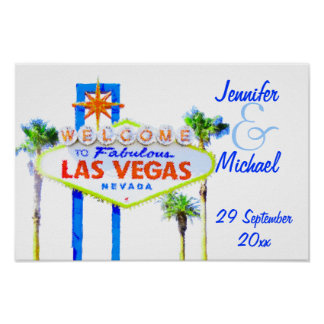 Las Vegas Wedding Party Sign Poster