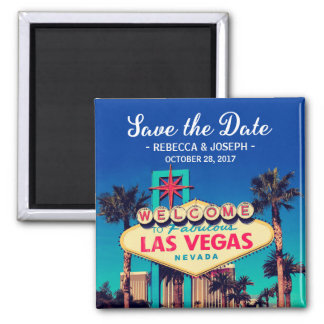 Las Vegas Wedding Retro Photo Save the Date Magnet