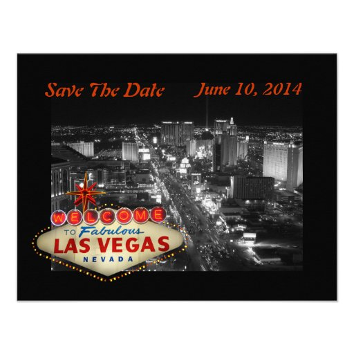 Las Vegas Wedding Save The Date Card Personalized Announcement