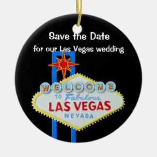 Las Vegas Wedding Save the Date Ceramic Ornament