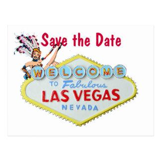 Las Vegas Wedding Sign with Showgirl Postcard