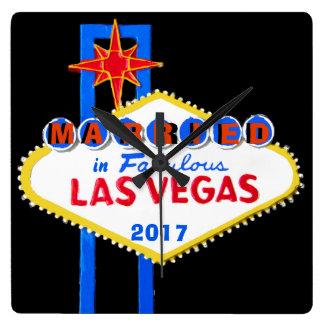 Las Vegas Wedding Souvenir Square Wall Clock