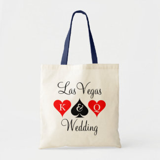 Las Vegas wedding tote bag with playing card suits