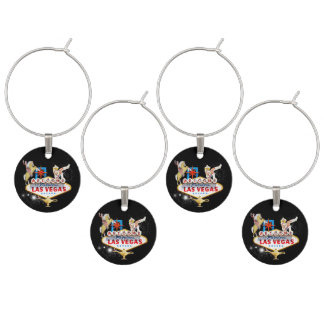 Las Vegas Welcome Sign On Starry Background Wine Charm