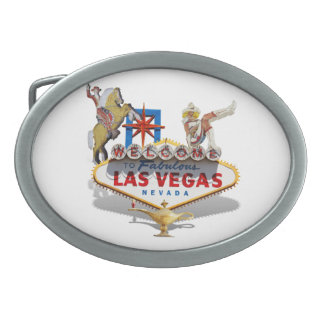 Las Vegas Welcome Sign Oval Belt Buckle