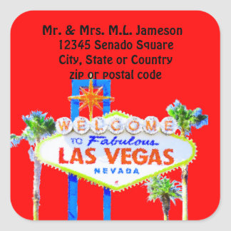 las Vegas Welcome Sign Red Address Label