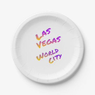 Las Vegas world city, colorful text art Paper Plate