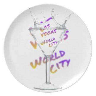 Las Vegas world city, Water Glass Plate