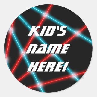 Laser Beam Lazer Retro Custom Name School Classrom Classic Round Sticker