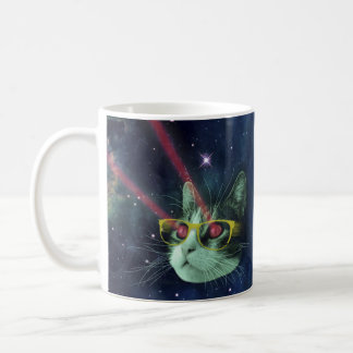 Laser cat with glasses in space classic white coffee mug