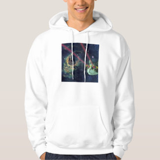 Laser cat with glasses in space hoodie