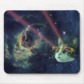 Laser cat with glasses in space mouse pad